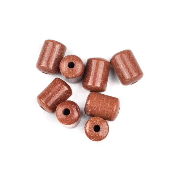Large Hole Goldstone 10x14mm Barrel with 2.5mm Drilled Hole - 8 per bag