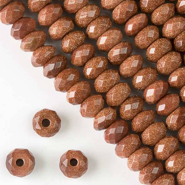 Faceted Large Hole Goldstone 6x10mm Rondelle with a 2.5mm Drilled Hole - approx. 8 inch strand