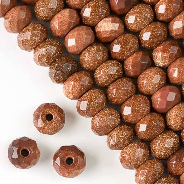Faceted Large Hole Goldstone 8x12mm Rondelle with a 2.5mm Drilled Hole - approx. 8 inch strand