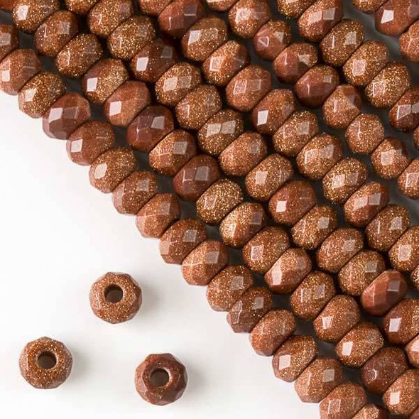 Faceted Large Hole Goldstone 5x8mm Rondelle with a 2.5mm Drilled Hole - approx. 8 inch strand