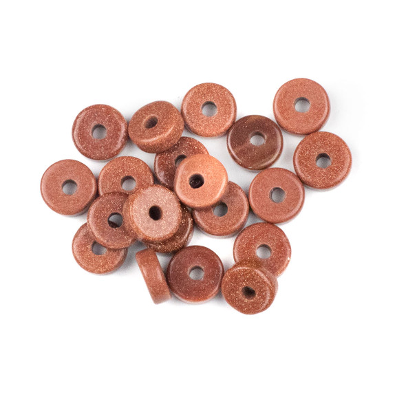 Large Hole Goldstone 3-5x10mm Heishi with 2.5mm Drilled Hole - 20 per bag