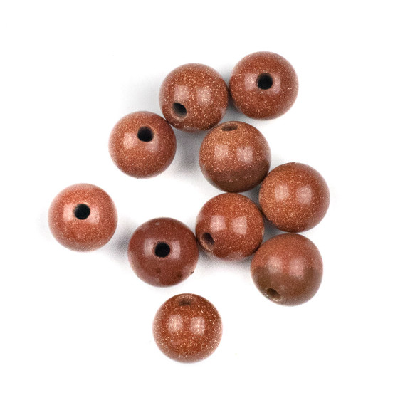 Large Hole Goldstone 12mm Round Beads with 2.5mm Drilled Hole - 10 per bag