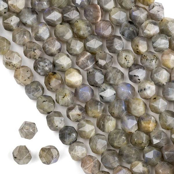 Large Hole Labradorite approximately 8mm Simple Faceted Star Cut with 2mm Drilled Hole - approx. 8 inch strand