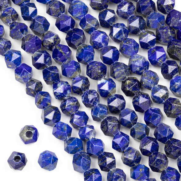 Large Hole Lapis approximately 8mm Simple Faceted Star Cut with 2mm Drilled Hole - approx. 8 inch strand