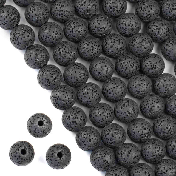 Large Hole Waxed Black Lava 10mm Round Beads with a 2.5mm Drilled Hole - approx. 8 inch strand
