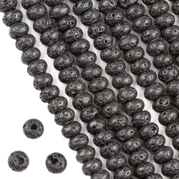 Large Hole Waxed Black Lava 5x8mm Rondelle Beads with a 2.5mm Drilled Hole - approx. 8 inch strand