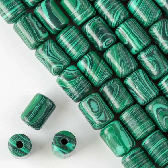 Large Hole Synthetic Malachite 10x14mm Barrel with 2.5mm Drilled Hole - approx. 8 inch strand