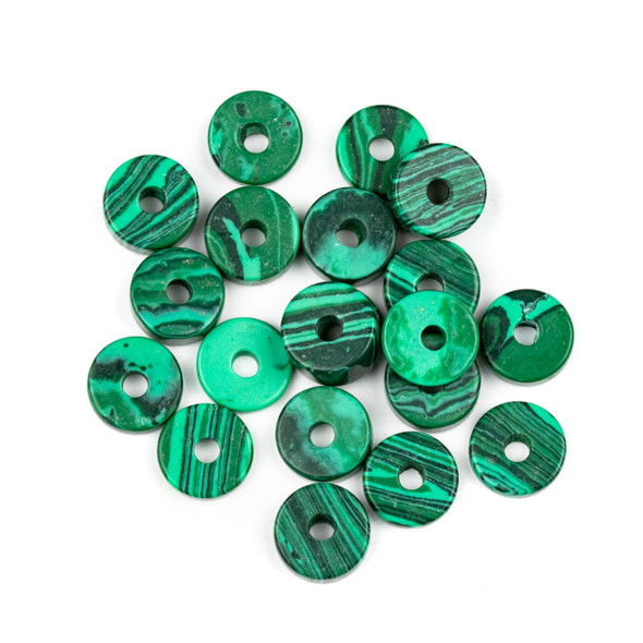 Large Hole Synthetic Malachite 3-5x10mm Heishi Beads with 2.5mm Drilled Hole - 20 per bag