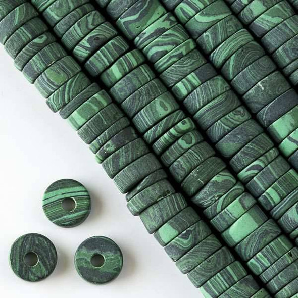 Matte Large Hole Synthetic Malachite 3-5x10mm Heishi with a 2.5mm Drilled Hole - approx. 8 inch strand