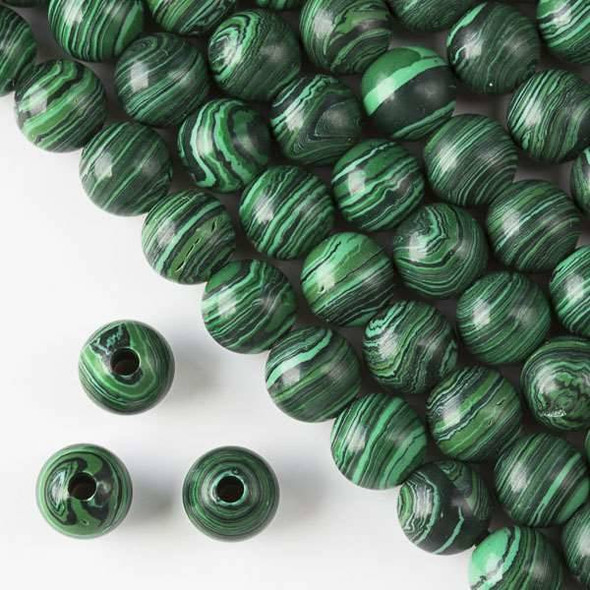 Large Hole Synthetic Malachite 10mm Round with a 2.5mm Drilled Hole - approx. 8 inch strand
