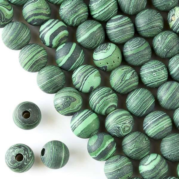Matte Large Hole Synthetic Malachite 10mm Round with a 2.5mm Drilled Hole - approx. 8 inch strand