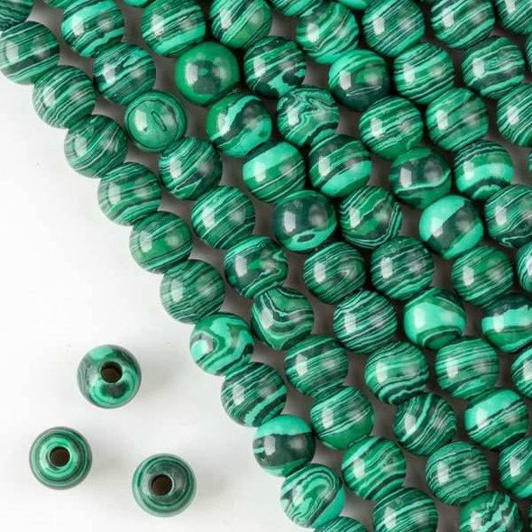 Large Hole Synthetic Malachite 8mm Round with 2.5mm Drilled Hole - approx. 8 inch strand