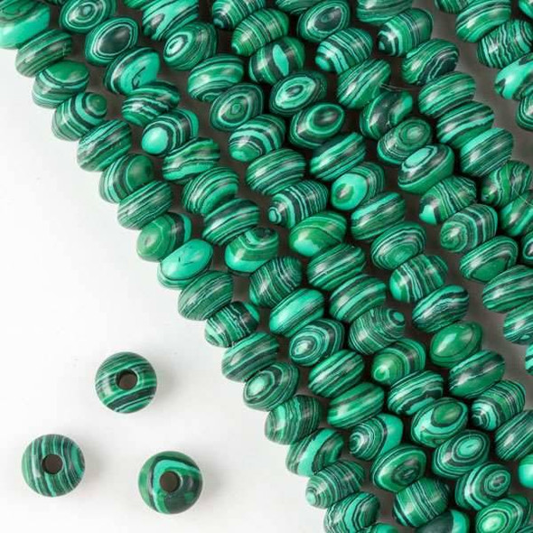 Large Hole Synthetic Malachite 5x8mm Rondelle with 2.5mm Drilled Hole - approx. 8 inch strand