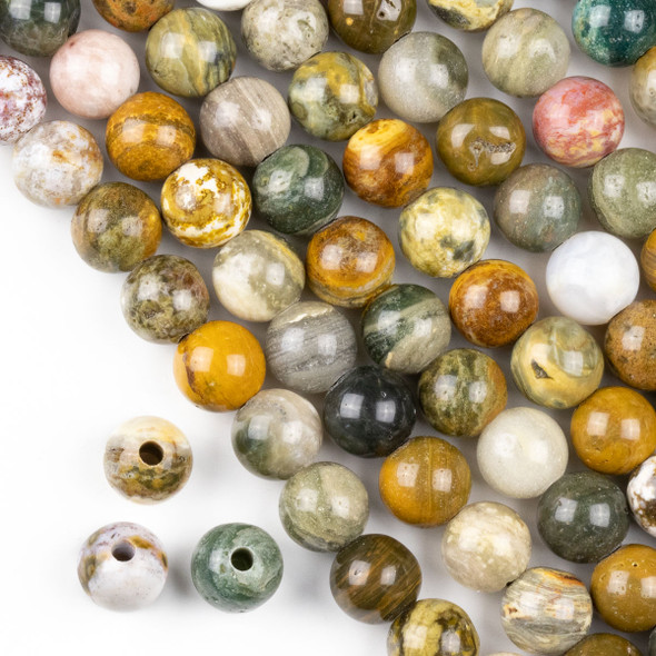 Large Hole Ocean Jasper 10mm Round with a 2.5mm Drilled Hole - approx. 8 inch strand