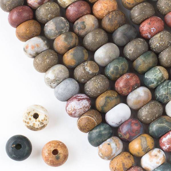Matte Large Hole Ocean Jasper 8x12mm Rondelle Beads with 2.5mm Drilled Hole - approx. 8 inch strand