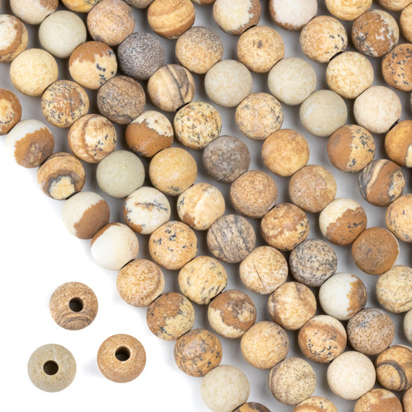 Matte Large Hole Picture Jasper 8mm Round Beads with a 2.5mm Drilled Hole - approx. 8 inch strand