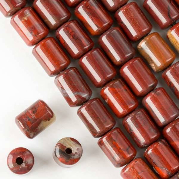 Large Hole Rainbow Jasper 10x14mm Barrel with 2.5mm Drilled Hole - approx. 8 inch strand