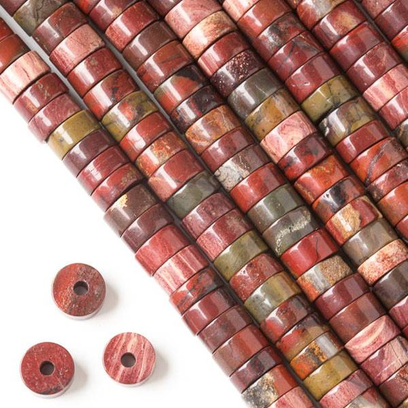 Large Hole Rainbow Jasper 3-5x10mm Heishi with 2.5mm Drilled Hole - approx. 8 inch strand