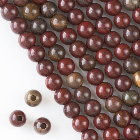 Large Hole Rainbow Jasper 10mm Round with a 2.5mm Drilled Hole - approx. 8 inch strand