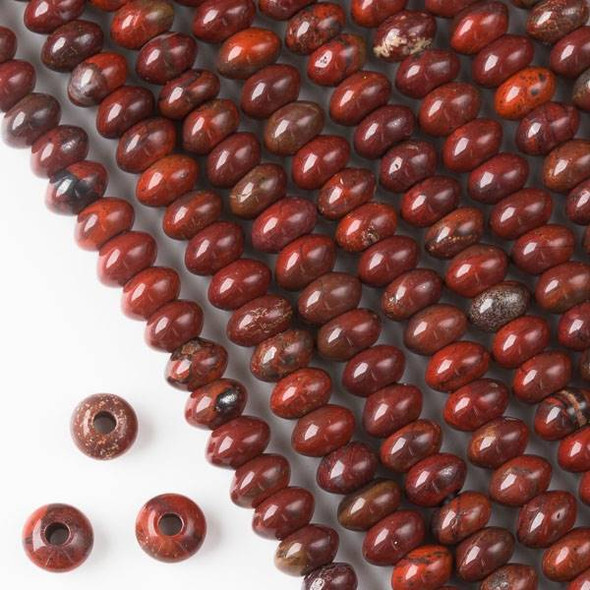 Large Hole Rainbow Jasper 5x8mm Rondelle with 2.5mm Drilled Hole - approx. 8 inch strand
