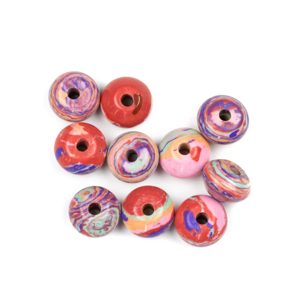 Large Hole Synthetic Rainbow 8x12mm Rondelle Beads with 2.5mm Drilled Hole - 10 per bag