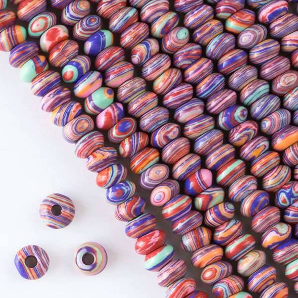 Large Hole Synthetic Rainbow 5x8mm Rondelle with 2.5mm Drilled Hole - approx. 8 inch strand