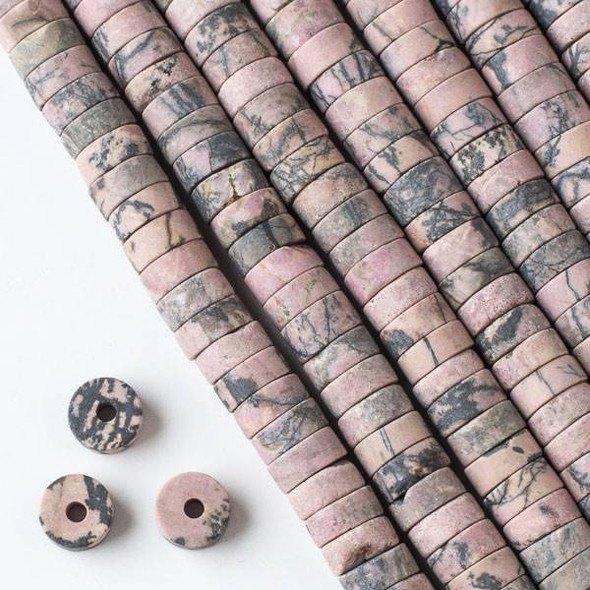 Matte Large Hole Rhodonite with Matrix 3-5x10mm Heishi Beads with 2.5mm Drilled Hole - approx. 8 inch strand