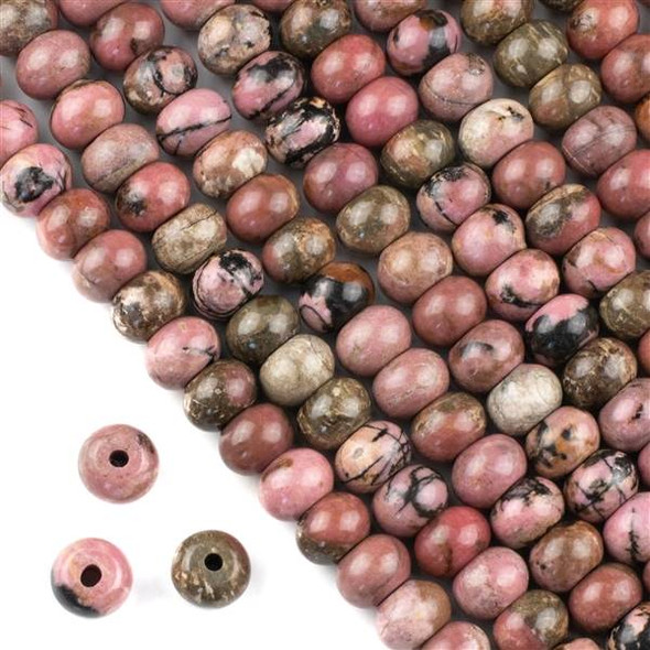 Large Hole Rhodonite with Matrix 8x12mm Rondelle Beads with 2.5mm Drilled Hole - approx. 8 inch strand