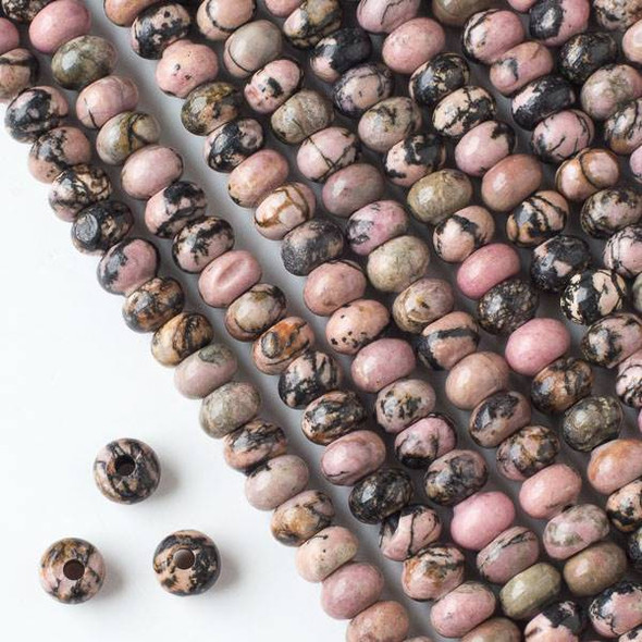 Large Hole Rhodonite with Matrix 5x8mm Rondelle Beads with 2.5mm Drilled Hole - approx. 8 inch strand