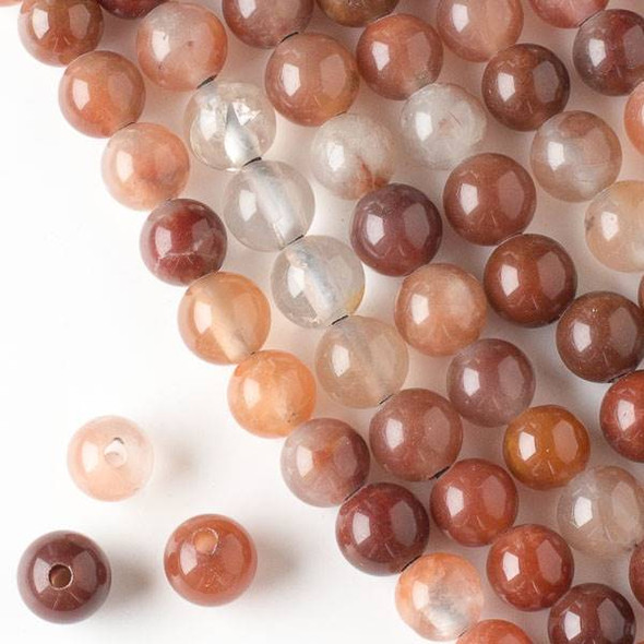 Large Hole Red Rutilated Quartz 10mm Round Beads with a 2.5mm Drilled Hole - approx. 8 inch strand