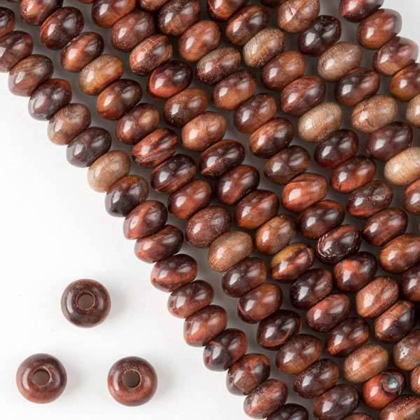 Large Hole Red Tigereye 5x8mm Rondelle with 2.5mm Drilled Hole - approx. 8 inch strand
