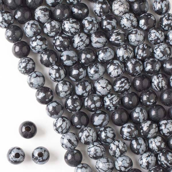 Large Hole Snowflake Obsidian 8mm Round Beads with a 2.5mm Drilled Hole - approx. 8 inch strand