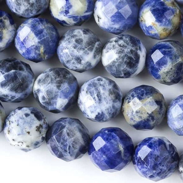 Faceted Large Hole Sodalite 12mm Round with a 2.5mm Drilled Hole - approx. 8 inch strand