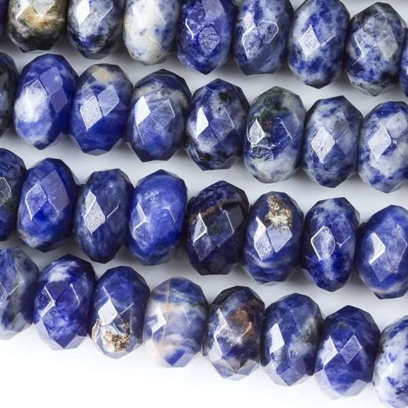 Faceted Large Hole Sodalite 6x10mm Rondelle with a 2.5mm Drilled Hole - approx. 8 inch strand