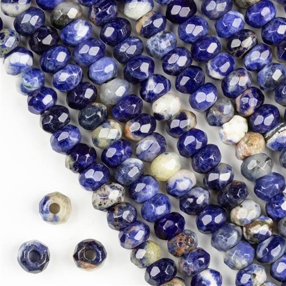 Faceted Large Hole Sodalite 5x8mm Rondelle with a 2.5mm Drilled Hole - approx. 8 inch strand