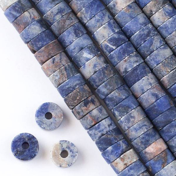 Matte Large Hole Sodalite 3-5x10mm Heishi with a 2.5mm Drilled Hole - approx. 8 inch strand