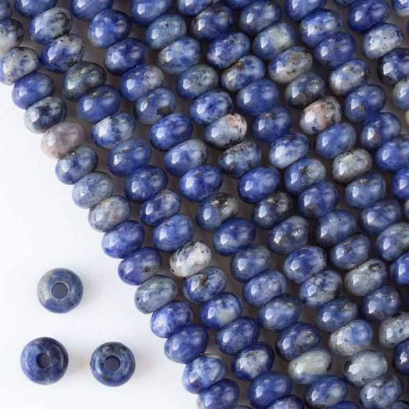 Large Hole Sodalite 5x8mm Rondelle with 2.5mm Drilled Hole - approx. 8 inch strand