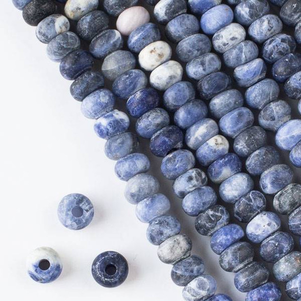 Matte Large Hole Sodalite 5x8mm Rondelle Beads with 2.5mm Drilled Hole - approx. 8 inch strand