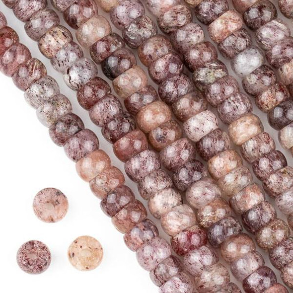 Large Hole Strawberry Quartz 5x8mm Tire Beads with 2.5mm Drilled Hole - approx. 8 inch strand