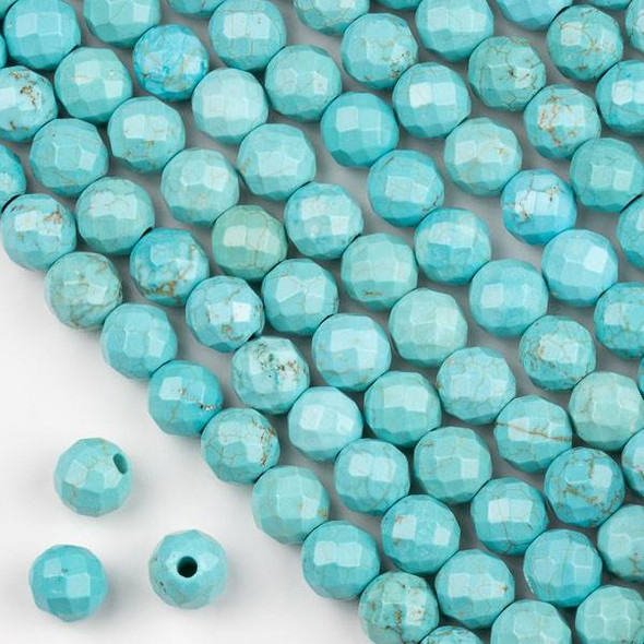 Faceted Large Hole Turquoise Howlite 10mm Round Beads with a 2.5mm Drilled Hole - approx. 8 inch strand
