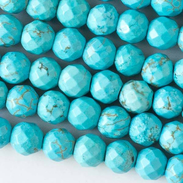 Faceted Large Hole Turquoise Howlite 8mm Round with a 2.5mm Drilled Hole - approx. 8 inch strand