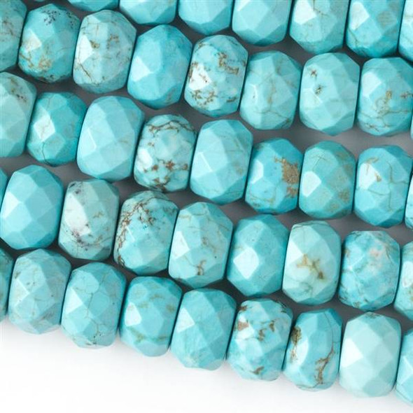 Faceted Large Hole Turquoise Howlite 6x10mm Rondelle with a 2.5mm Drilled Hole - approx. 8 inch strand