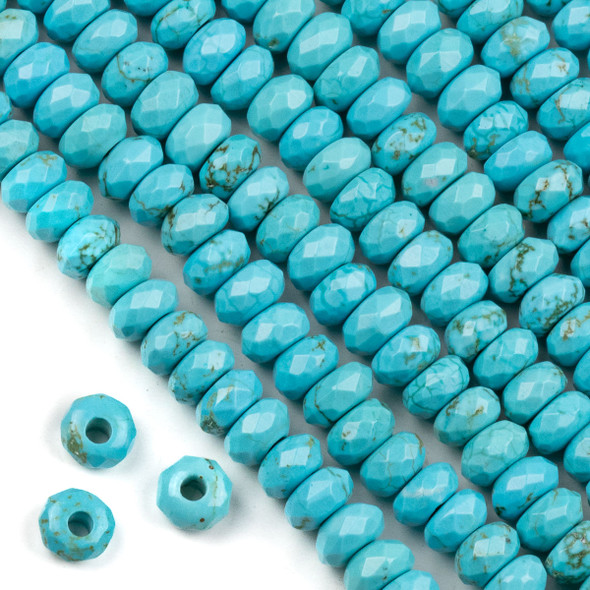 Faceted Large Hole Turquoise Howlite 5x8mm Rondelle with a 2.5mm Drilled Hole - approx. 8 inch strand