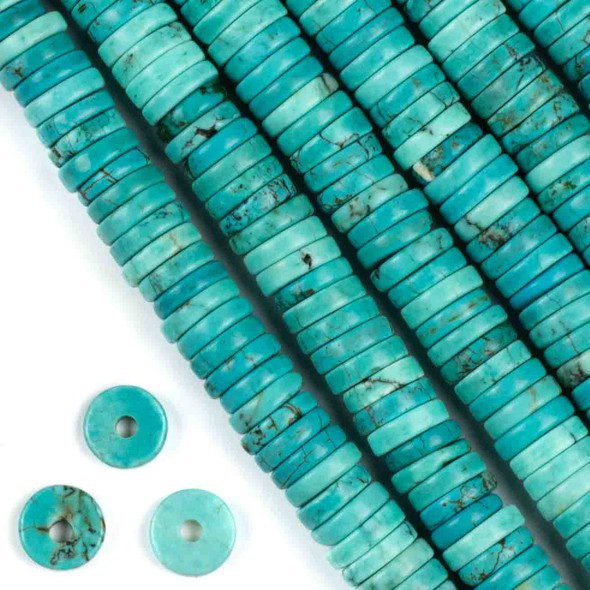 Large Hole Turquoise Howlite 3-5x10mm Heishi with 2.5mm Drilled Hole - approx. 8 inch strand