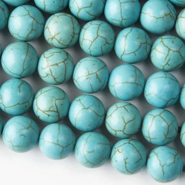 Large Hole Turquoise Howlite 12mm Round with 2.5mm Drilled Hole - approx. 8 inch strand