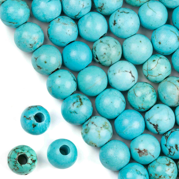 Large Hole Turquoise Howlite 12mm Round with 4mm Drilled Hole - approx. 8 inch strand