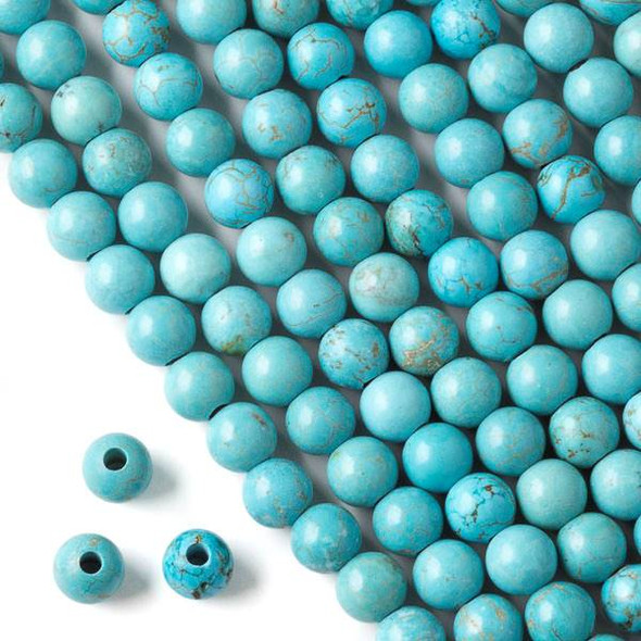Large Hole Turquoise Howlite 8mm Round with 2.5mm Drilled Hole - approx. 8 inch strand