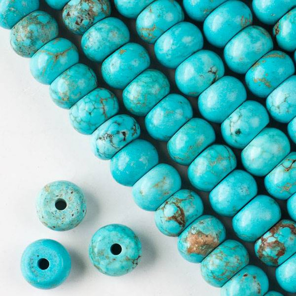 Large Hole Turquoise Howlite 8x12mm Rondelle with 2.5mm Drilled Hole - approx. 8 inch strand
