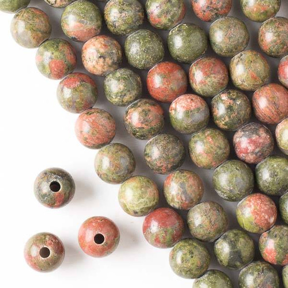 Large Hole Unakite 10mm Round Beads with a 2.5mm Drilled Hole - approx. 8 inch strand