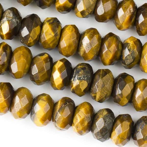 Faceted Large Hole Yellow Tigereye 6x10mm Rondelle with a 2.5mm Drilled Hole - approx. 8 inch strand